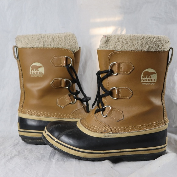 578d4679f0e Kids Black & Brown Sorel Yoot Pac Leather Boots